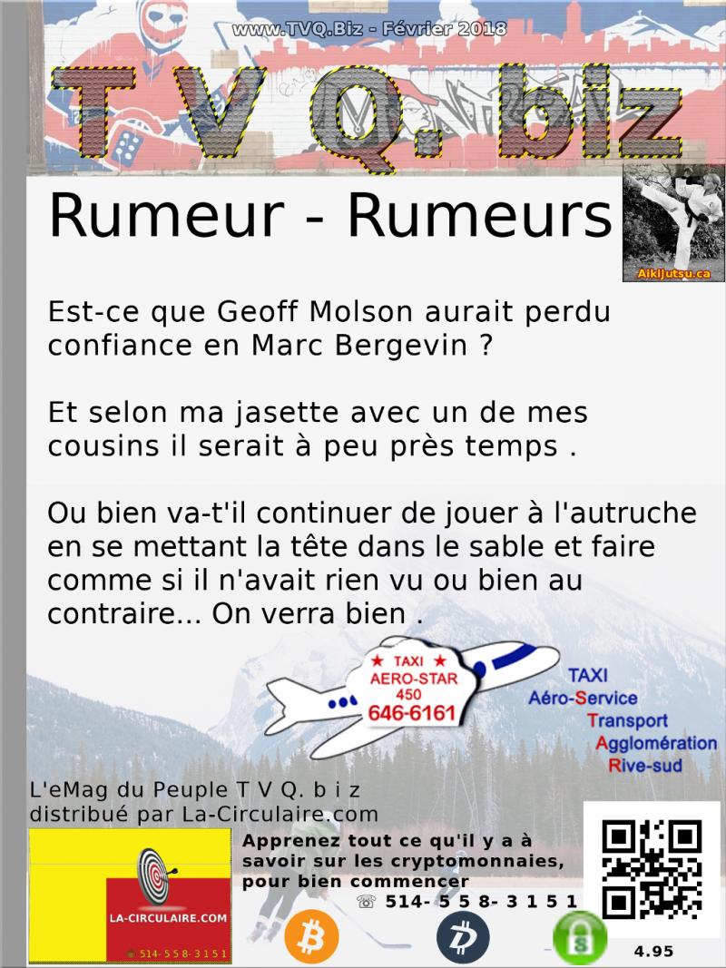RUMEUR, RUMEURS | Est-Ce que Geoff Molson aurait perdu confiance en Marc Bergevin ?